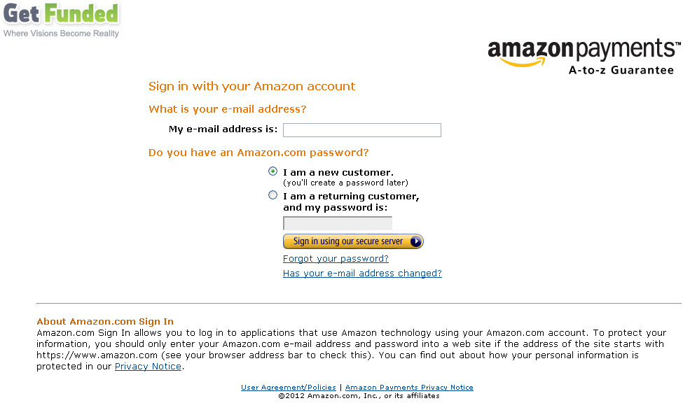 Get Funded Amazon Payments Page
