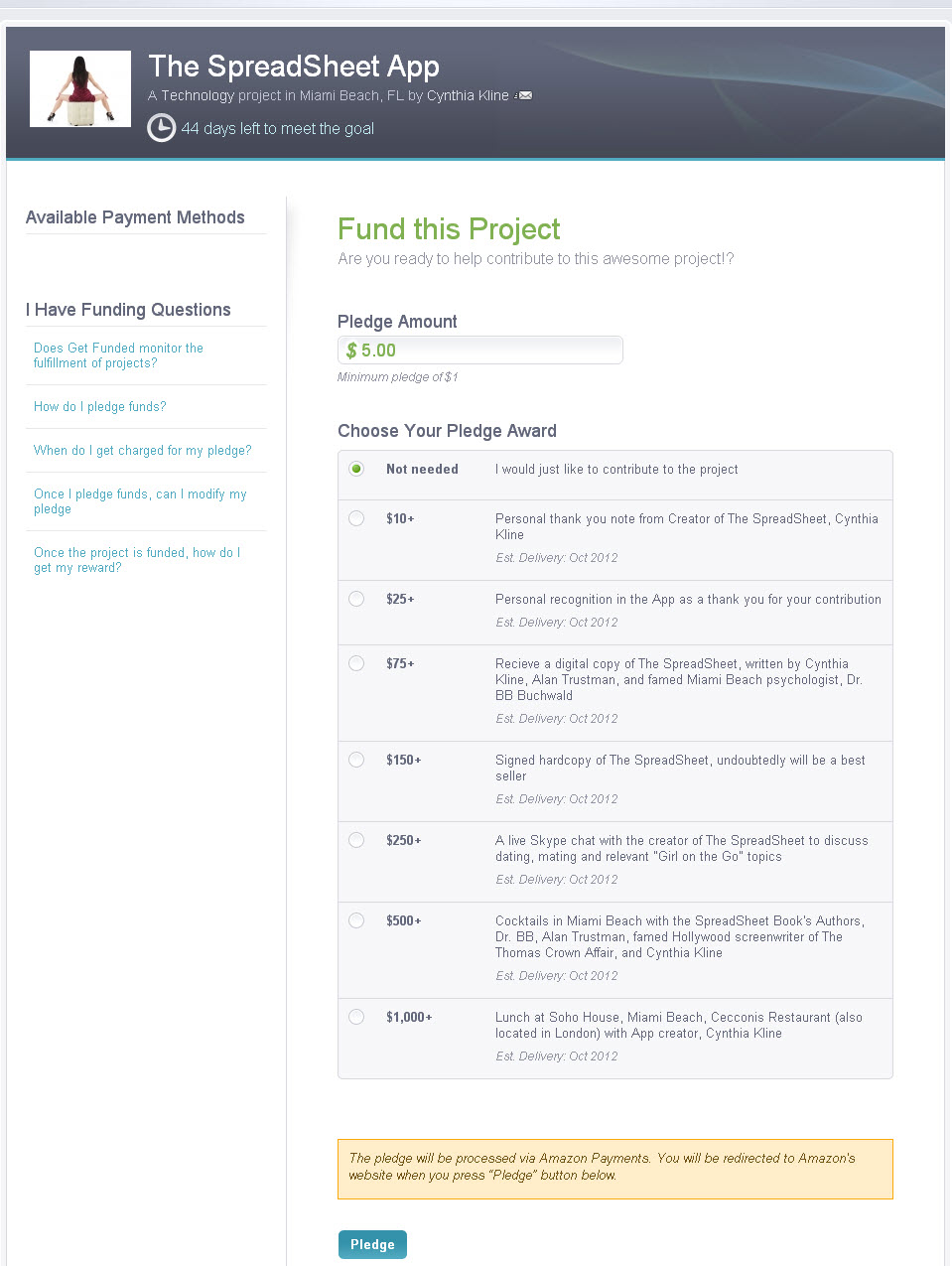 Get Funded Pledge Request