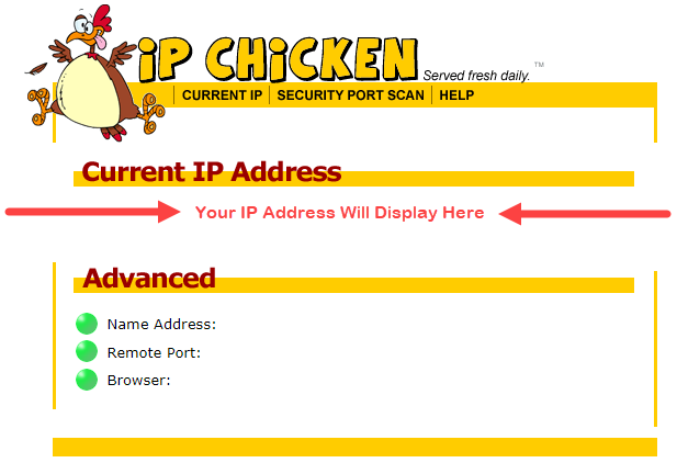 How to find IP Address on IPChicken.com